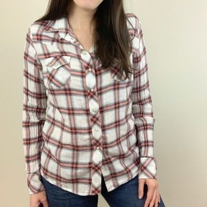 Maje Red Plaid Western PearlSnap Button Down top